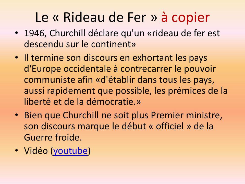 Le « Rideau de Fer » à copier 1946, Churchill déclare qu'un «rideau de fer est descendu sur le continent» Il termine son discours en exhortant les pay