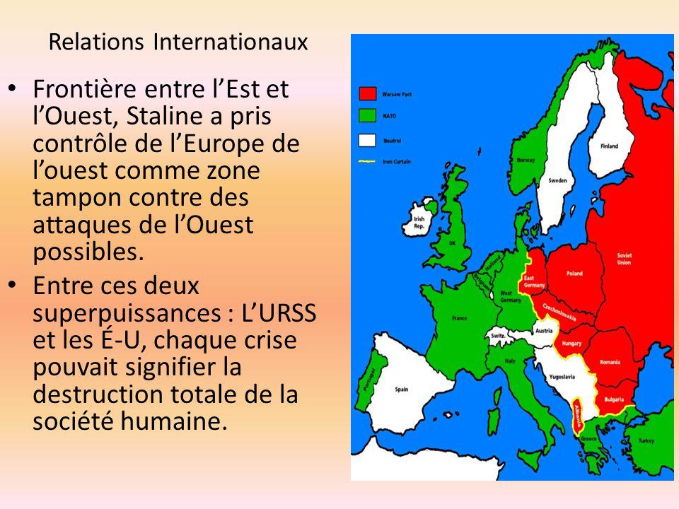 Relations Internationaux Frontière entre lEst et lOuest, Staline a pris contrôle de lEurope de louest comme zone tampon contre des attaques de lOuest