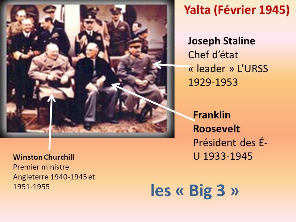 Winston Churchill Premier ministre Angleterre 1940-1945 et 1951-1955 Franklin Roosevelt Président des É- U 1933-1945 Joseph Staline Chef détat « leade