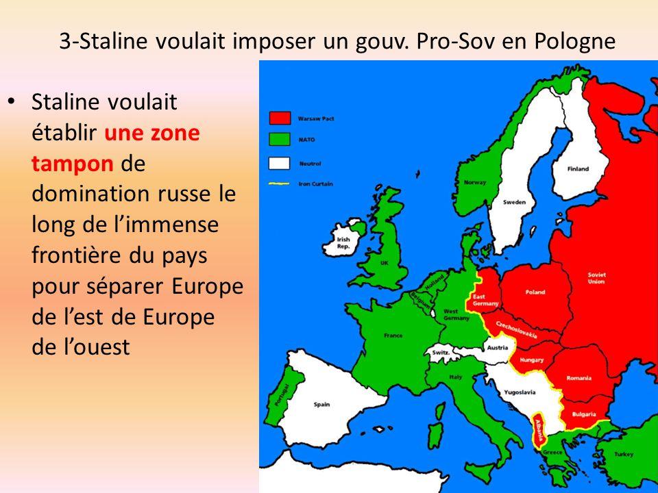 3-Staline voulait imposer un gouv. Pro-Sov en Pologne Staline voulait établir une zone tampon de domination russe le long de limmense frontière du pay