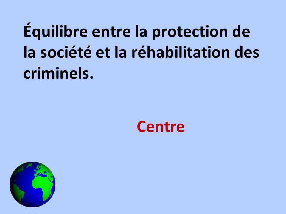 Équilibre entre la protection de la société et la réhabilitation des criminels. Centre