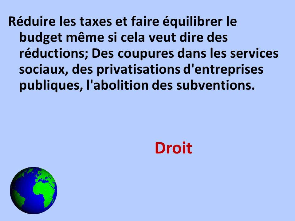 Réduire les taxes et faire équilibrer le budget même si cela veut dire des réductions; Des coupures dans les services sociaux, des privatisations d'en