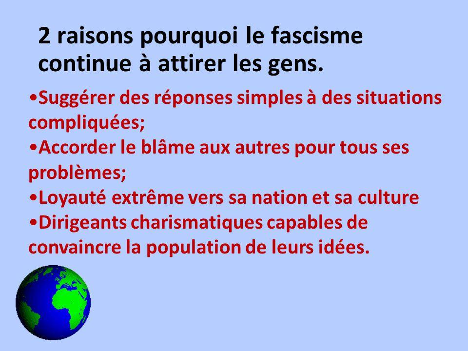 2 raisons pourquoi le fascisme continue à attirer les gens. Suggérer des réponses simples à des situations compliquées; Accorder le blâme aux autres p