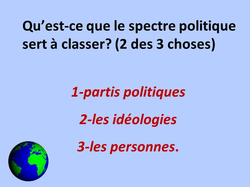 Quest-ce que le spectre politique sert à classer? (2 des 3 choses) 1-partis politiques 2-les idéologies 3-les personnes.