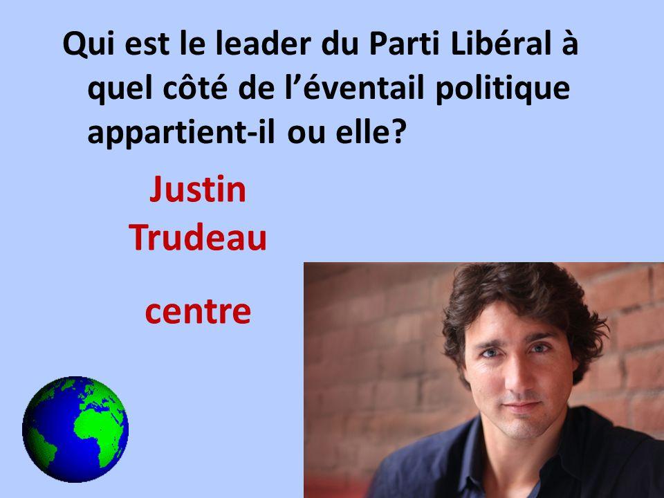 Qui est le leader du Parti Libéral à quel côté de léventail politique appartient-il ou elle? Justin Trudeau centre