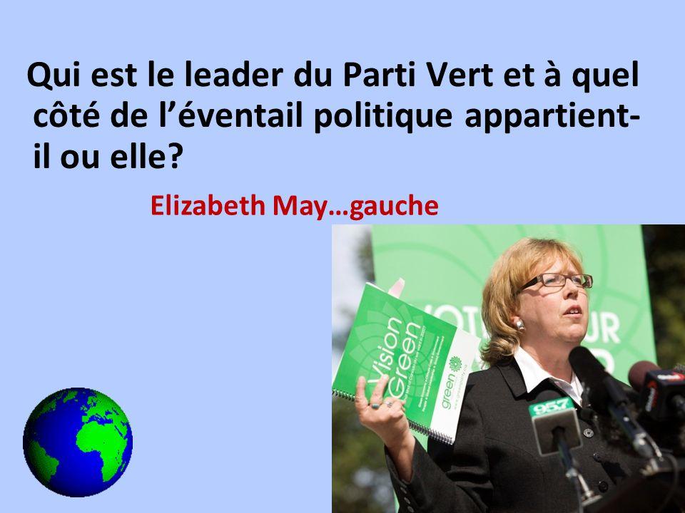 Qui est le leader du Parti Vert et à quel côté de léventail politique appartient- il ou elle? Elizabeth May…gauche
