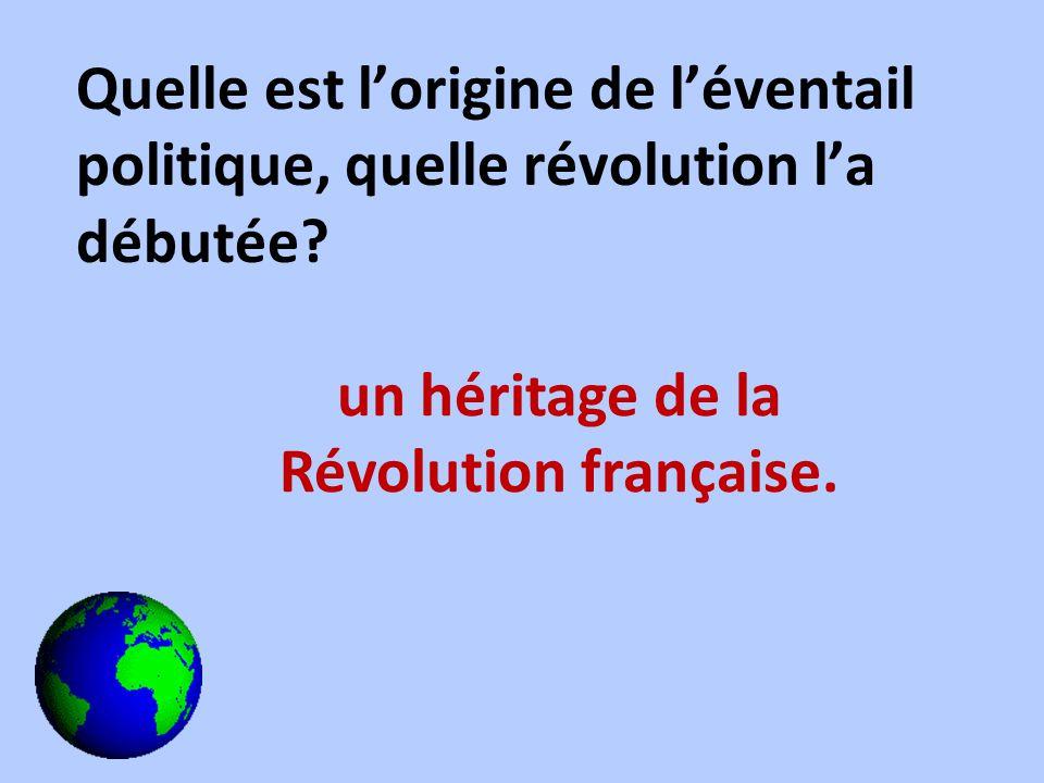 Quelle est lorigine de léventail politique, quelle révolution la débutée? un héritage de la Révolution française.