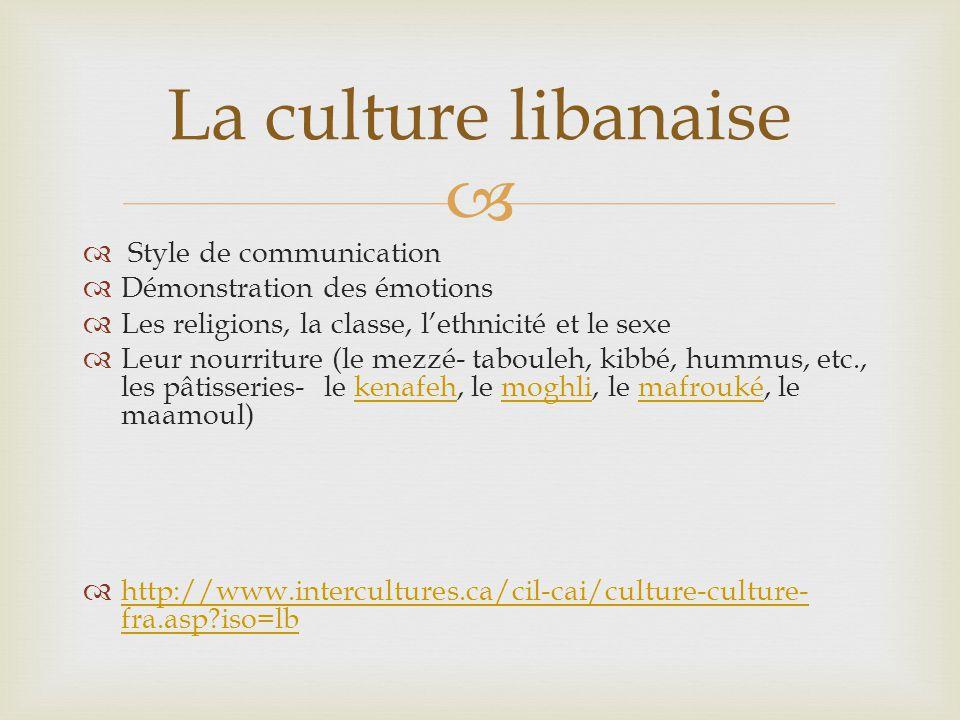 Style de communication Démonstration des émotions Les religions, la classe, lethnicité et le sexe Leur nourriture (le mezzé- tabouleh, kibbé, hummus, etc., les pâtisseries- le kenafeh, le moghli, le mafrouké, le maamoul)kenafehmoghlimafrouké http://www.intercultures.ca/cil-cai/culture-culture- fra.asp iso=lb http://www.intercultures.ca/cil-cai/culture-culture- fra.asp iso=lb La culture libanaise