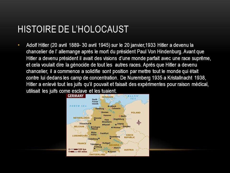 HISTOIRE DE LHOLOCAUST Adolf Hitler (20 avril 1889- 30 avril 1945) sur le 20 janvier,1933 Hitler a devenu la chancelier de l allemange après le mort d