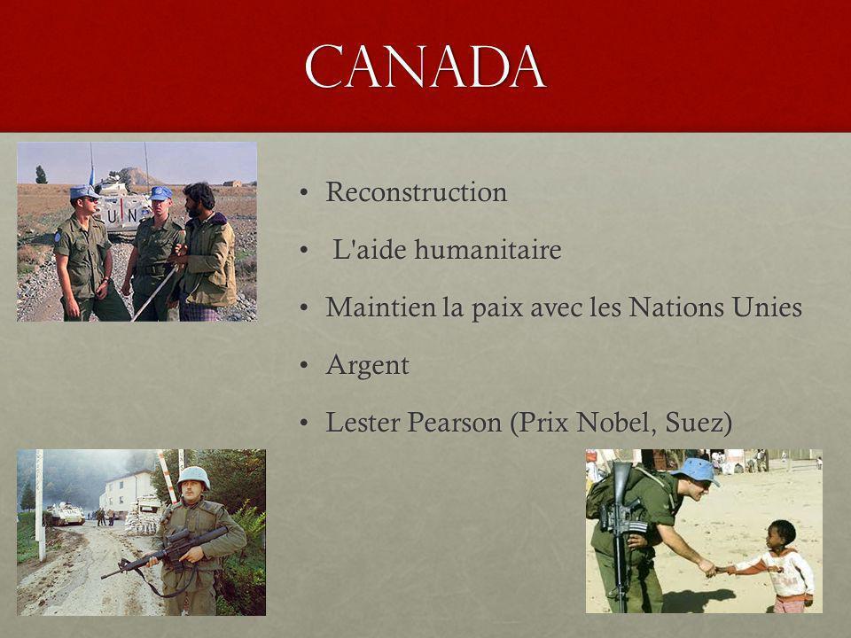 Canada ReconstructionReconstruction L aide humanitaire L aide humanitaire Maintien la paix avec les Nations UniesMaintien la paix avec les Nations Unies ArgentArgent Lester Pearson (Prix Nobel, Suez)Lester Pearson (Prix Nobel, Suez)