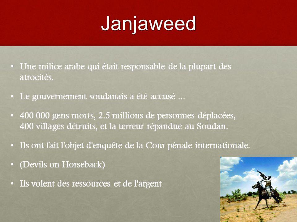 Janjaweed Une milice arabe qui était responsable de la plupart des atrocités.Une milice arabe qui était responsable de la plupart des atrocités.