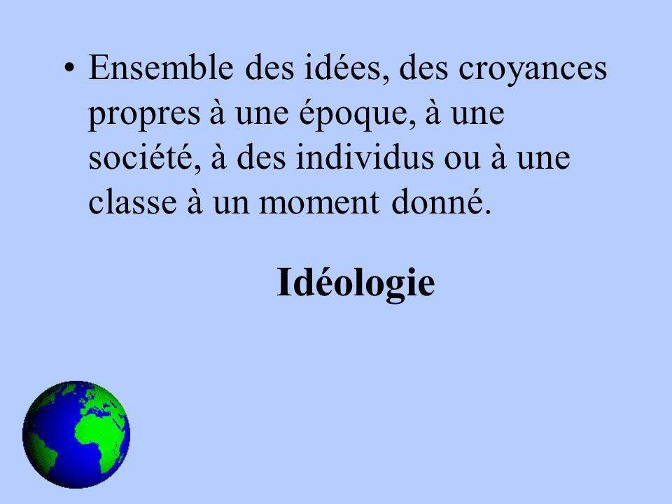 Ensemble des idées, des croyances propres à une époque, à une société, à des individus ou à une classe à un moment donné.