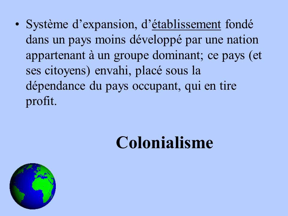 Système dexpansion, détablissement fondé dans un pays moins développé par une nation appartenant à un groupe dominant; ce pays (et ses citoyens) envahi, placé sous la dépendance du pays occupant, qui en tire profit.