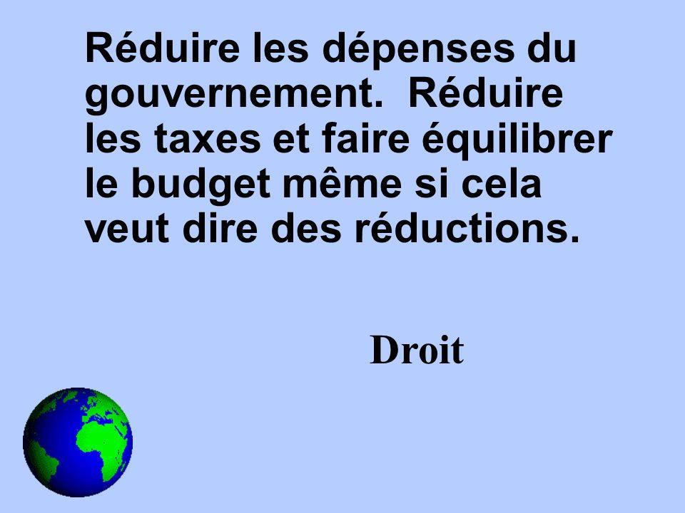 Réduire les dépenses du gouvernement.