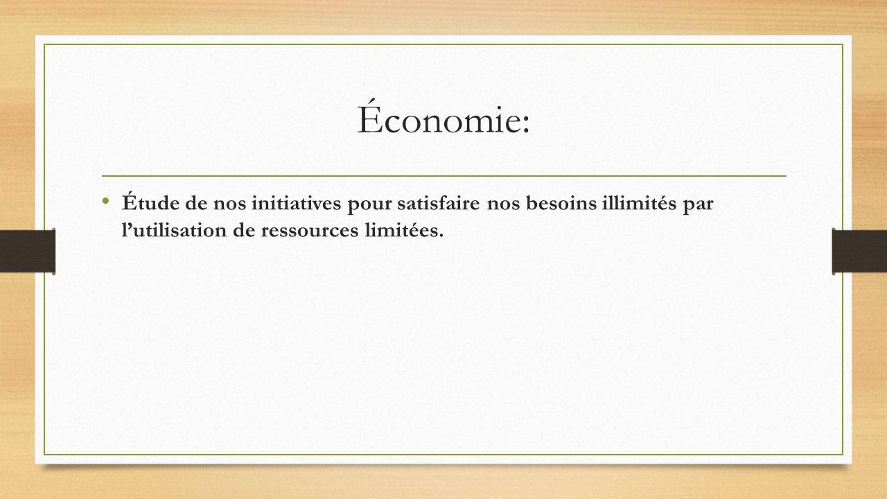 Économie: Étude de nos initiatives pour satisfaire nos besoins illimités par lutilisation de ressources limitées.