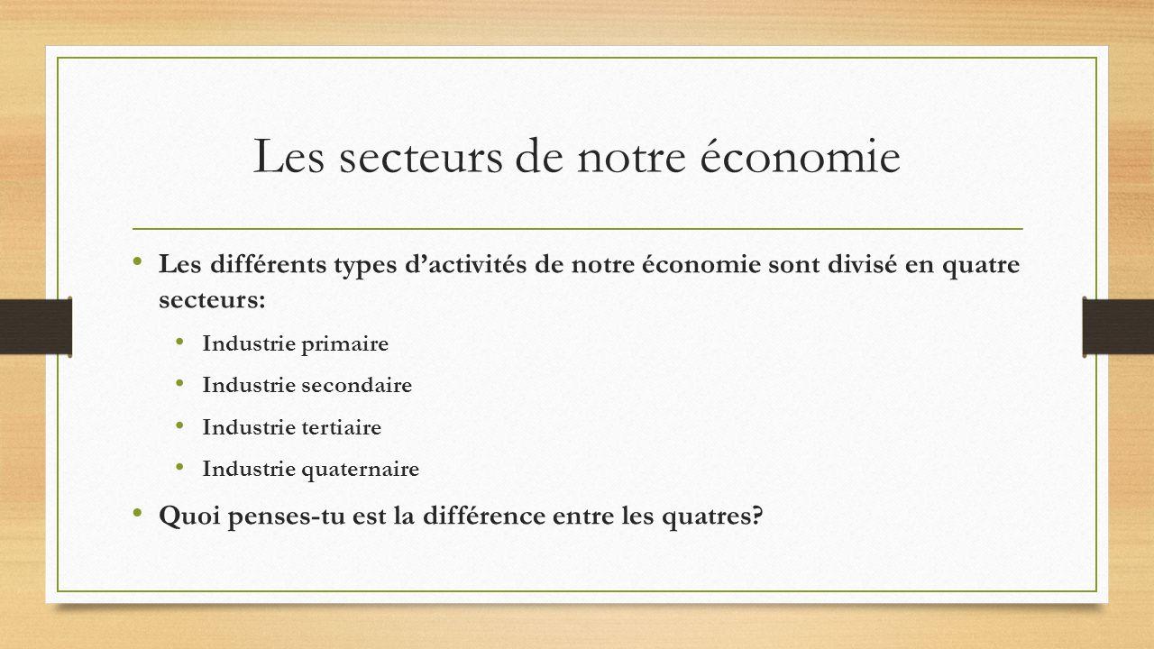 Les secteurs de notre économie Les différents types dactivités de notre économie sont divisé en quatre secteurs: Industrie primaire Industrie secondaire Industrie tertiaire Industrie quaternaire Quoi penses-tu est la différence entre les quatres