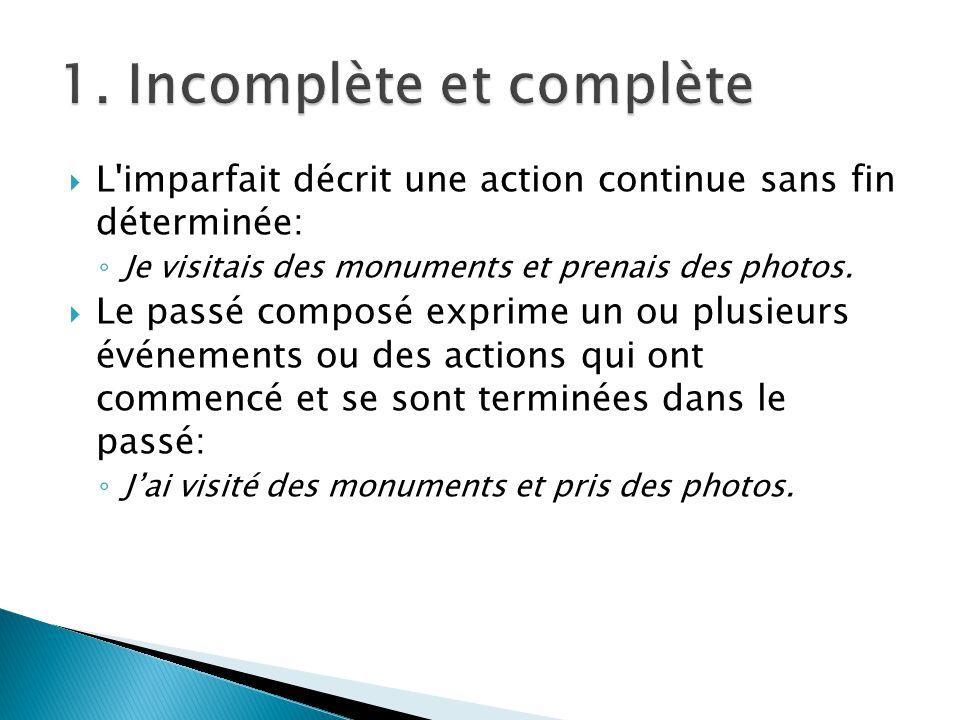 L'imparfait décrit une action continue sans fin déterminée: Je visitais des monuments et prenais des photos. Le passé composé exprime un ou plusieurs