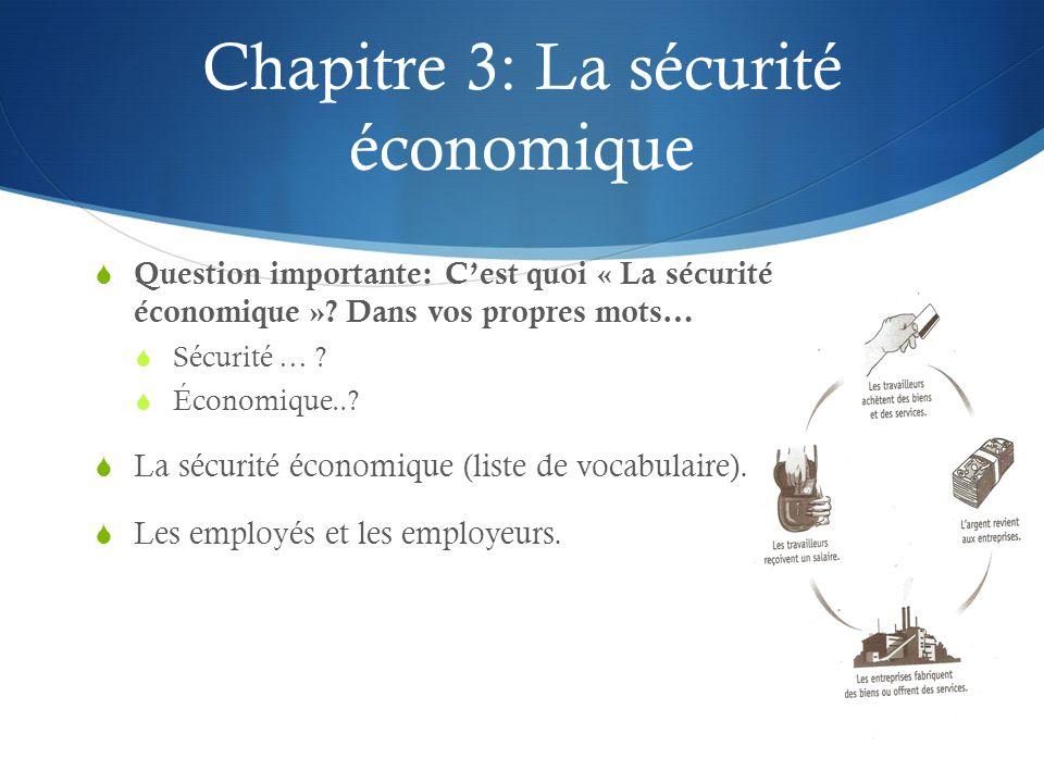 Chapitre 3: La sécurité économique Question importante: Cest quoi « La sécurité économique »? Dans vos propres mots… Sécurité … ? Économique..? La séc