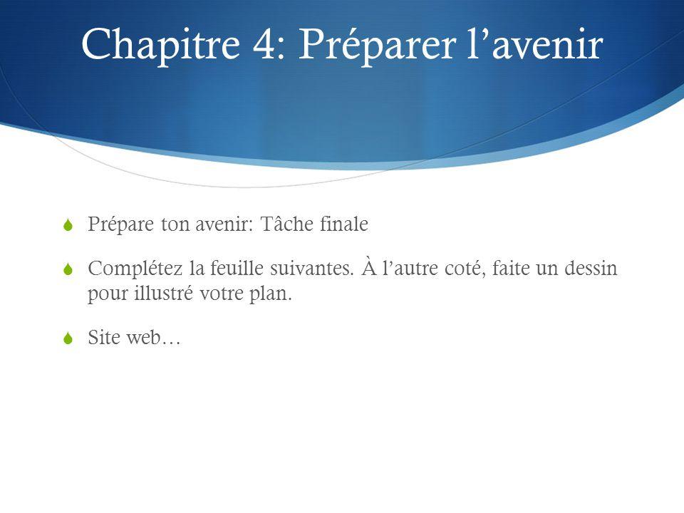 Chapitre 4: Préparer lavenir Prépare ton avenir: Tâche finale Complétez la feuille suivantes. À lautre coté, faite un dessin pour illustré votre plan.