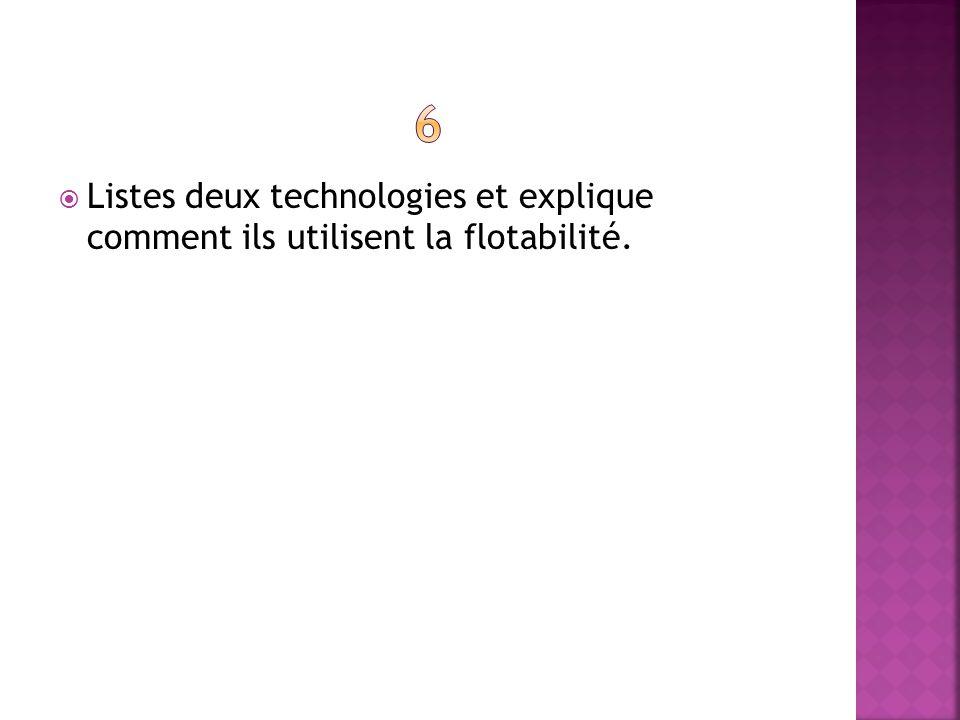 Listes deux technologies et explique comment ils utilisent la flotabilité.