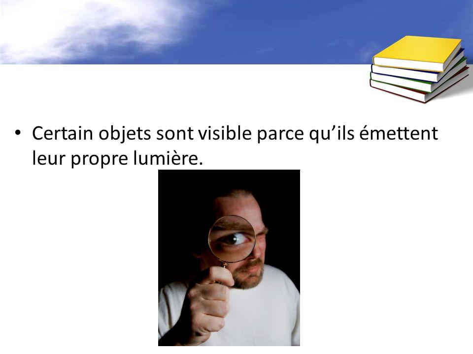 Certain objets sont visible parce quils émettent leur propre lumière.