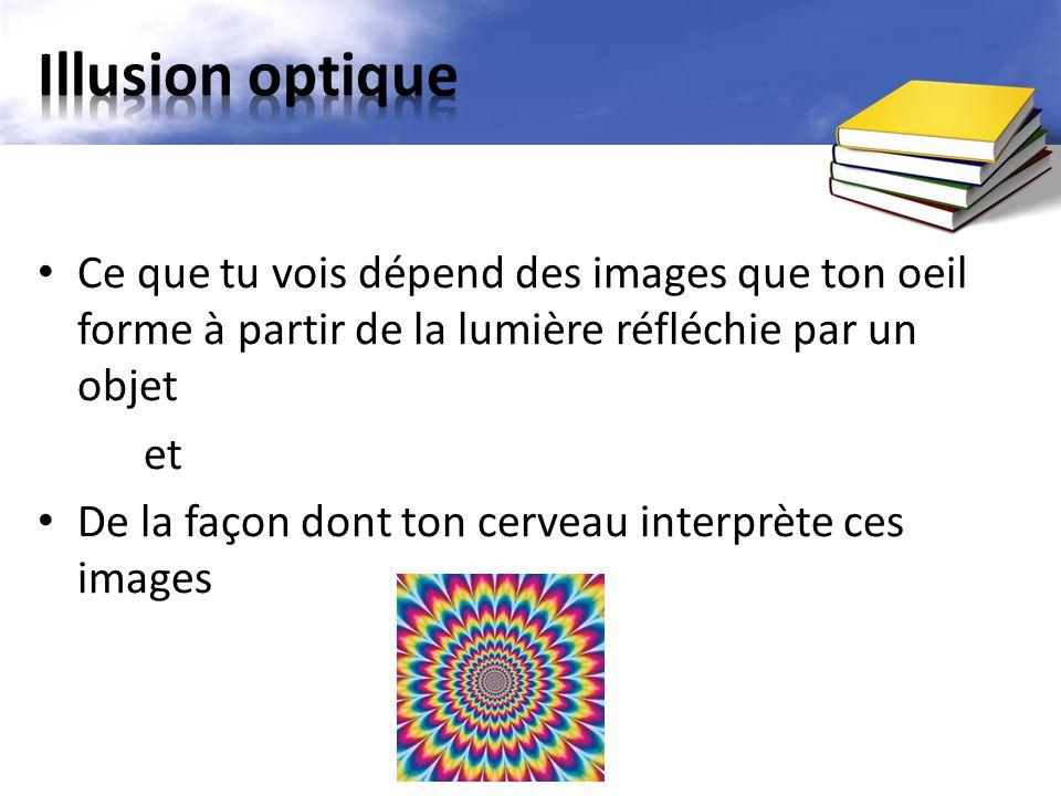 Ce que tu vois dépend des images que ton oeil forme à partir de la lumière réfléchie par un objet et De la façon dont ton cerveau interprète ces image