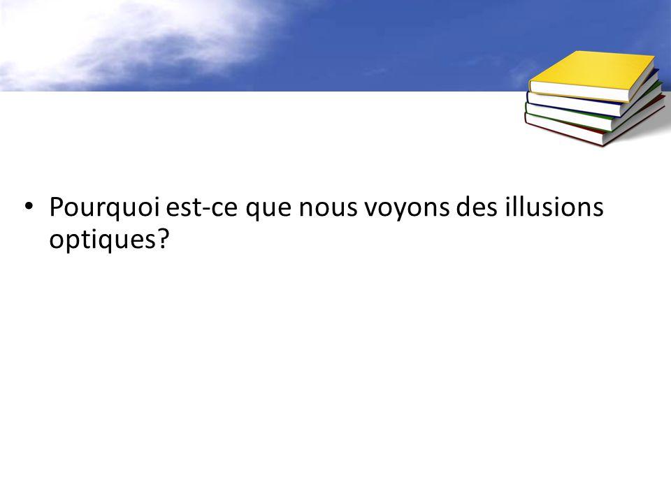 Pourquoi est-ce que nous voyons des illusions optiques?