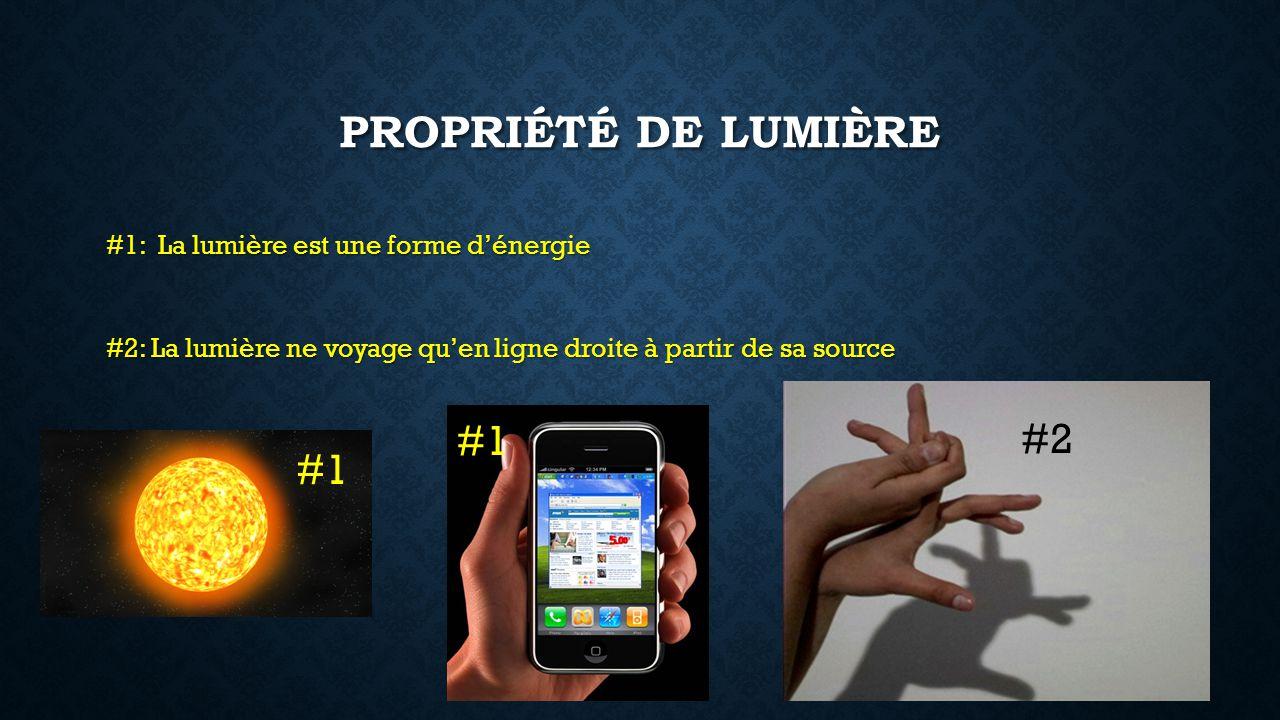 PROPRIÉTÉ DE LUMIÈRE #1: La lumière est une forme dénergie #2: La lumière ne voyage quen ligne droite à partir de sa source #2 #1