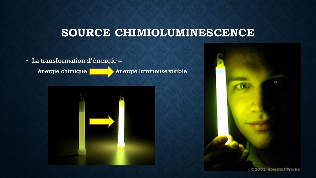 SOURCE CHIMIOLUMINESCENCE La transformation dénergie = La transformation dénergie = énergie chimique énergie lumineuse visible