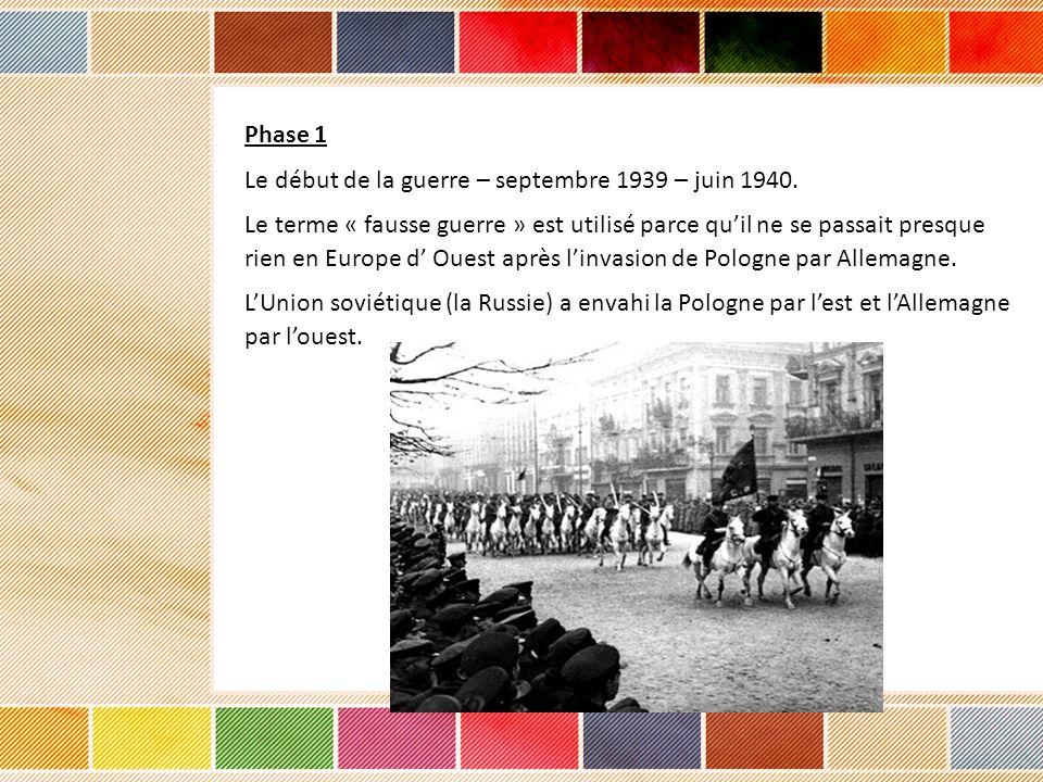Phase 1 Le début de la guerre – septembre 1939 – juin 1940.