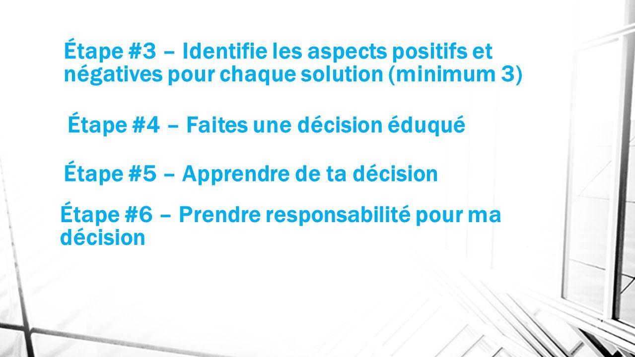 Étape #3 – Identifie les aspects positifs et négatives pour chaque solution (minimum 3) Étape #4 – Faites une décision éduqué Étape #5 – Apprendre de