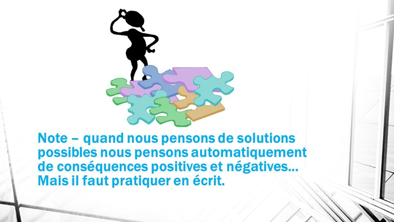 Note – quand nous pensons de solutions possibles nous pensons automatiquement de conséquences positives et négatives... Mais il faut pratiquer en écri