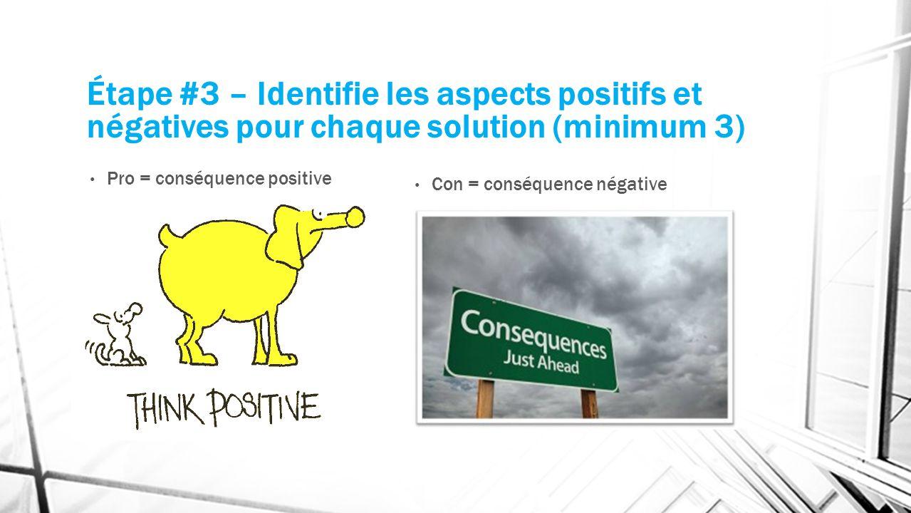 Étape #3 – Identifie les aspects positifs et négatives pour chaque solution (minimum 3) Pro = conséquence positive Con = conséquence négative