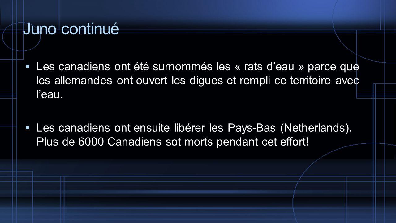 Juno continué Les canadiens ont été surnommés les « rats deau » parce que les allemandes ont ouvert les digues et rempli ce territoire avec leau.