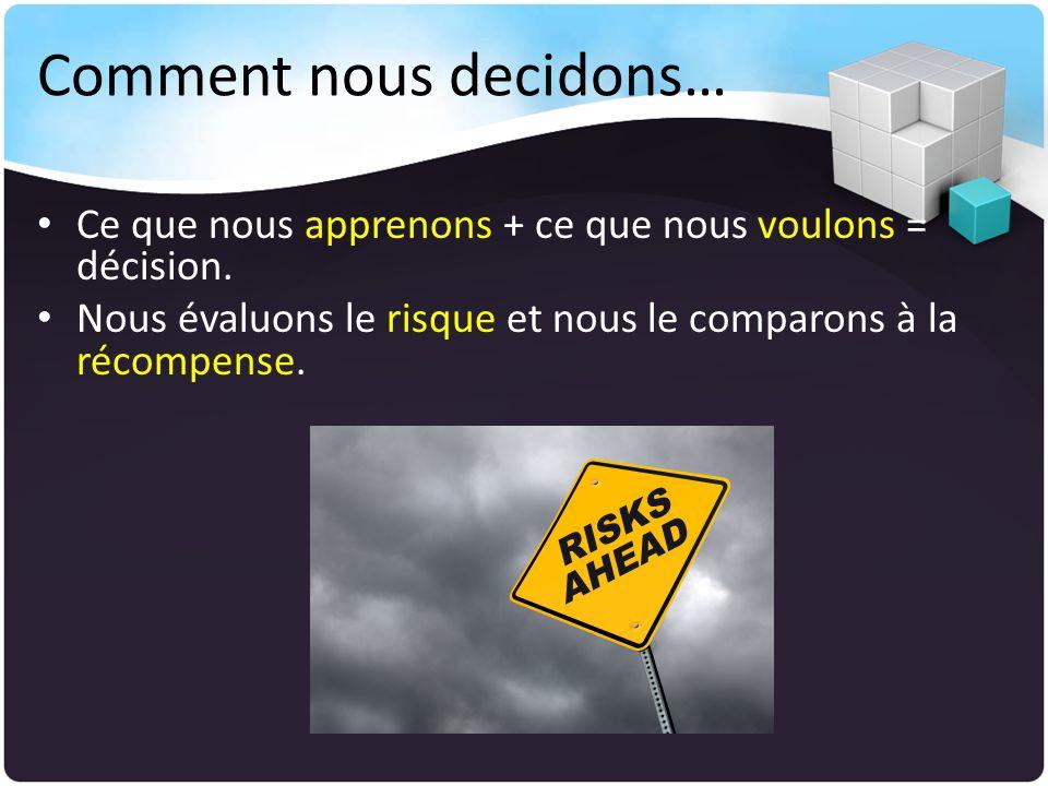 Comment nous decidons… Ce que nous apprenons + ce que nous voulons = décision.