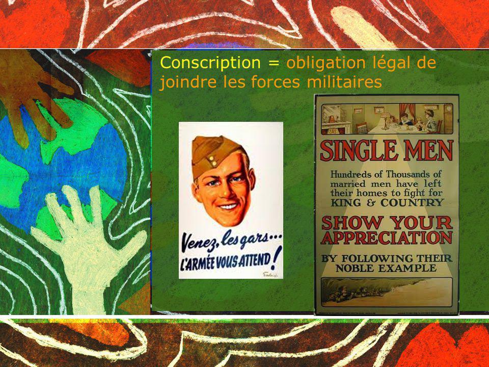 Conscription = obligation légal de joindre les forces militaires