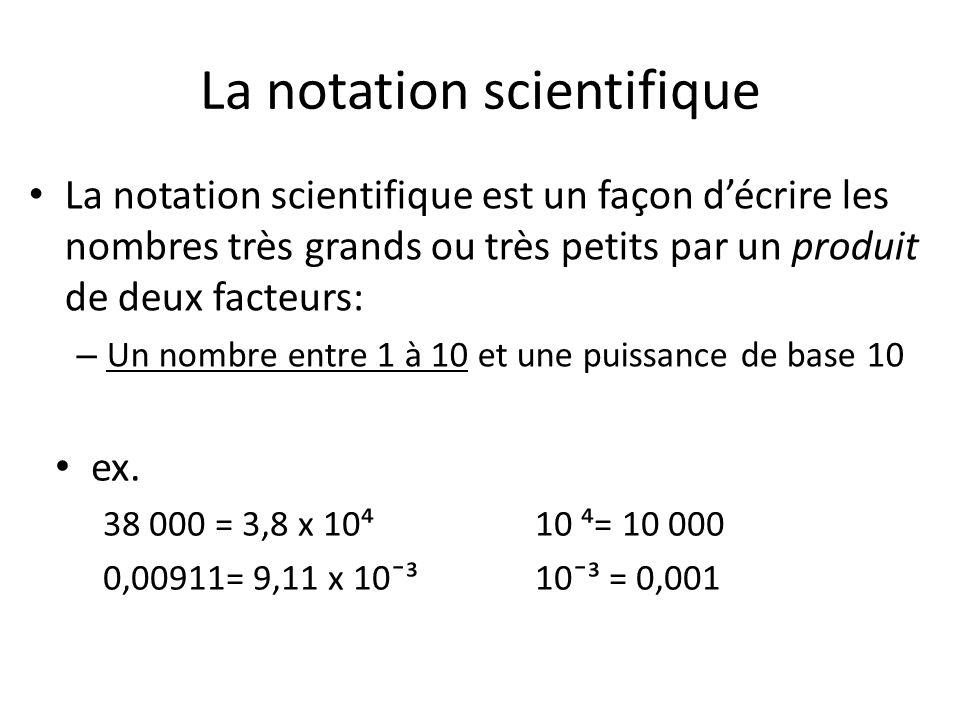 La notation scientifique La notation scientifique est un façon décrire les nombres très grands ou très petits par un produit de deux facteurs: – Un no