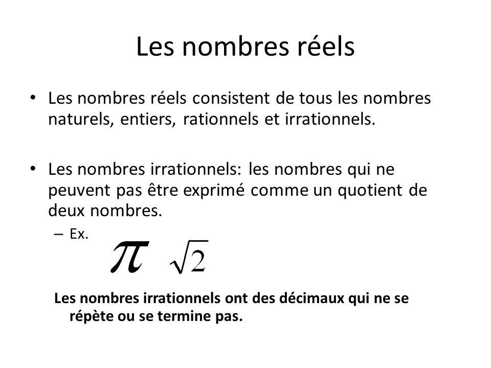 Les nombres réels Les nombres réels consistent de tous les nombres naturels, entiers, rationnels et irrationnels. Les nombres irrationnels: les nombre