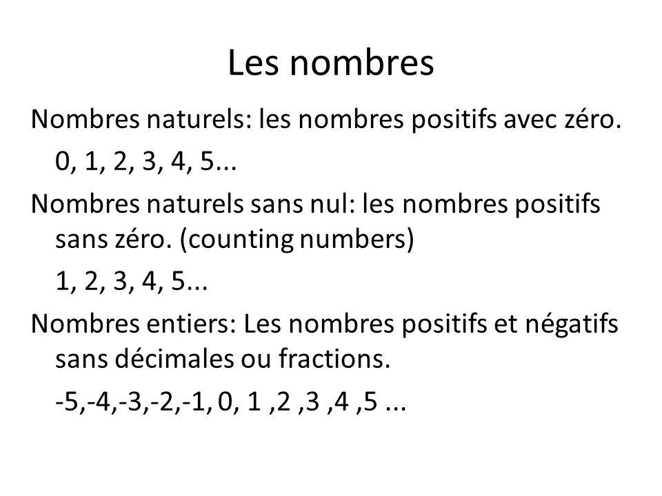 Les nombres Nombres naturels: les nombres positifs avec zéro. 0, 1, 2, 3, 4, 5... Nombres naturels sans nul: les nombres positifs sans zéro. (counting