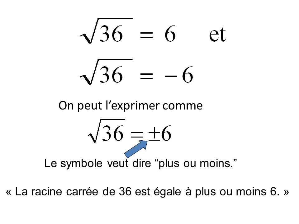 On peut lexprimer comme Le symbole veut dire plus ou moins. « La racine carrée de 36 est égale à plus ou moins 6. »