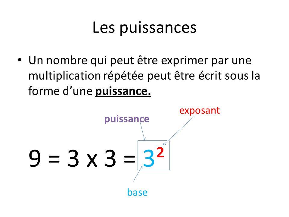 Les puissances Un nombre qui peut être exprimer par une multiplication répétée peut être écrit sous la forme dune puissance. 9 = 3 x 3 = 3² puissance