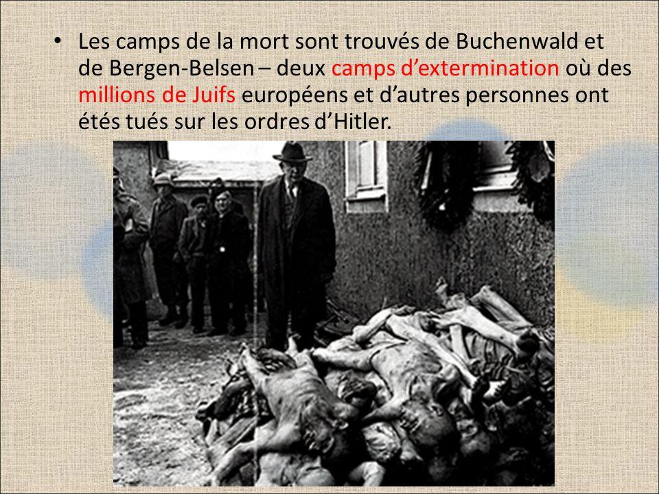 Des trains qui arrivaient de toute lEurope occupée transportaient des gens, surtout des Juifs, vers ces camps où on les affamait, les tuait au travail, les fusillait ou les gazait.