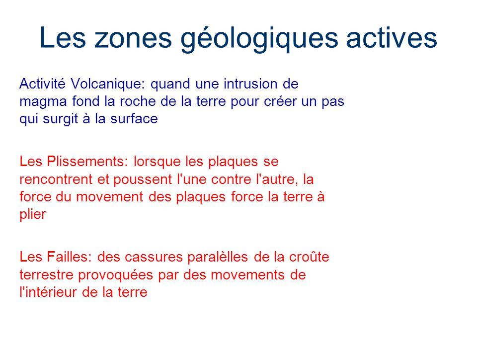 Les zones géologiques actives Activité Volcanique: quand une intrusion de magma fond la roche de la terre pour créer un pas qui surgit à la surface Le