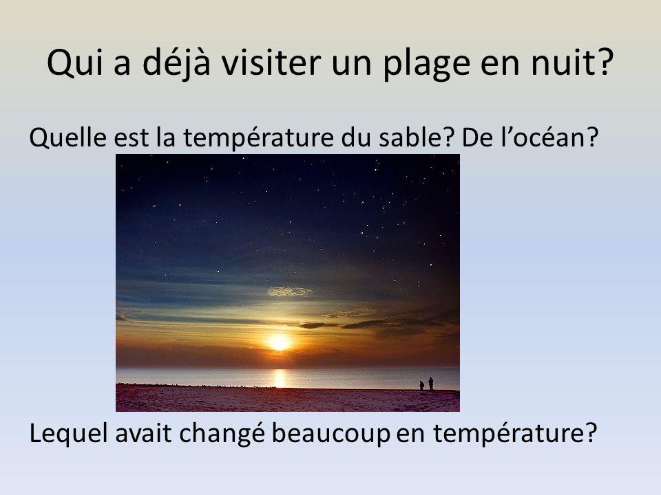 Qui a déjà visiter un plage en nuit. Quelle est la température du sable.
