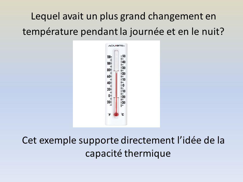 La Capacité Thermique Capacité Thermique: Un nombre qui indique combien dénergie thermique (chaleur) on doit ajouter pour augmenter la température dune substance 1°C