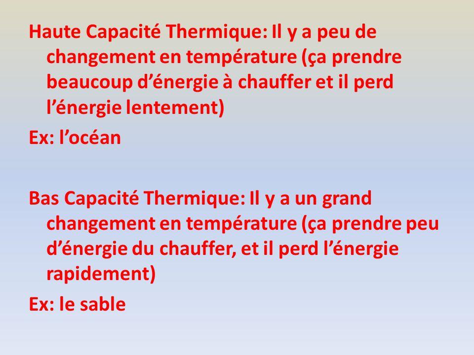Haute Capacité Thermique: Il y a peu de changement en température (ça prendre beaucoup dénergie à chauffer et il perd lénergie lentement) Ex: locéan Bas Capacité Thermique: Il y a un grand changement en température (ça prendre peu dénergie du chauffer, et il perd lénergie rapidement) Ex: le sable