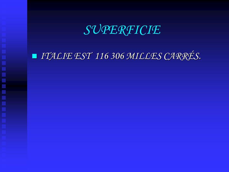 SUPERFICIE ITALIE EST 116 306 MILLES CARRÉS. ITALIE EST 116 306 MILLES CARRÉS.