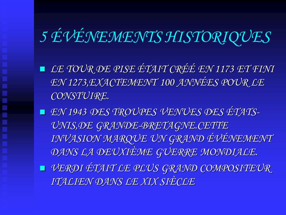 5 ÉVÉNEMENTS HISTORIQUES LE TOUR DE PISE ÉTAIT CRÉÉ EN 1173 ET FINI EN 1273,EXACTEMENT 100 ANNÉES POUR LE CONSTUIRE.