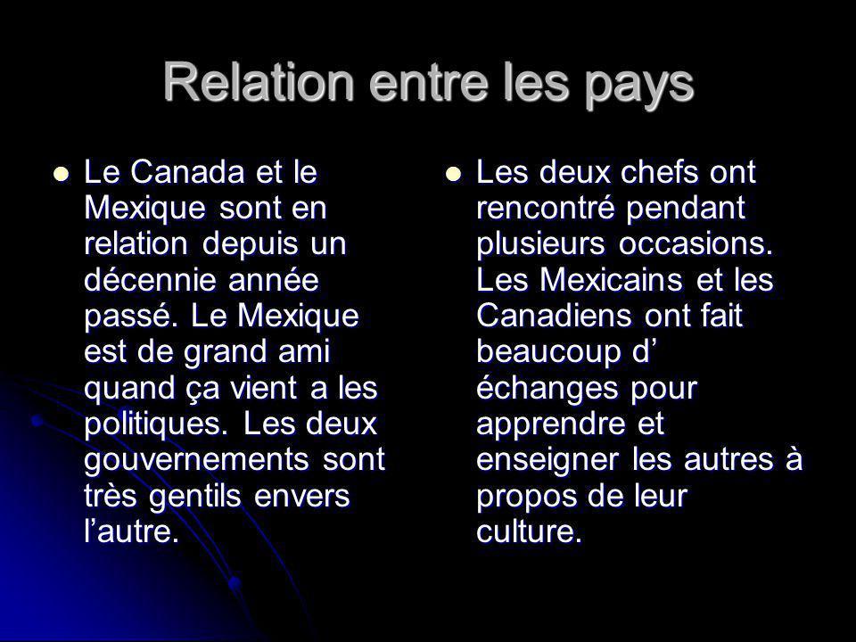 Relation entre les pays Le Canada et le Mexique sont en relation depuis un décennie année passé.