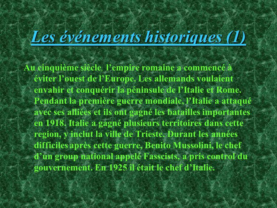 Les événements historiques (1) Au cinquième siècle, lempire romaine a commencé à éviter louest de lEurope.
